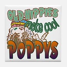 OLD HIPPIE POPPY Tile Coaster