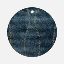 Jeans_doubleStitched Round Ornament