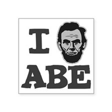"I-love-Abe-Grey Square Sticker 3"" x 3"""