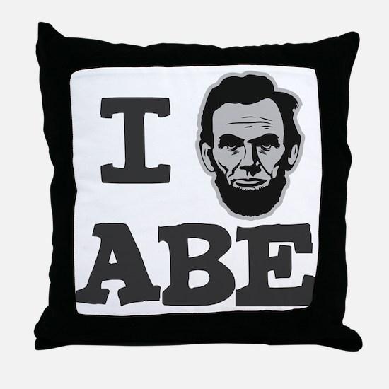 I-love-Abe-Grey Throw Pillow