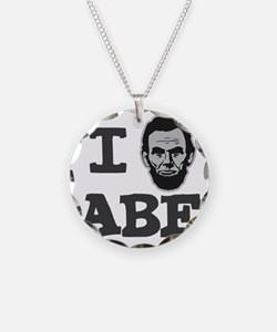 I-love-Abe-Grey Necklace Circle Charm