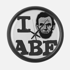 I-love-Abe-Grey Large Wall Clock