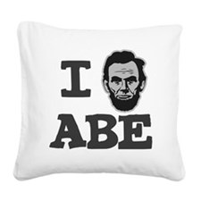 I-love-Abe-Grey Square Canvas Pillow