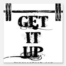 """GET IT UP WHITE Square Car Magnet 3"""" x 3"""""""