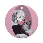 Clumber Spaniel & cat Ornament (Round)