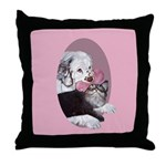 Clumber Spaniel & cat Throw Pillow