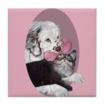 Clumber Spaniel & cat Tile Coaster