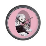 Clumber Spaniel & cat Wall Clock