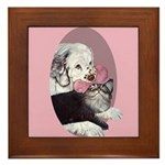 Clumber Spaniel & cat Framed Tile