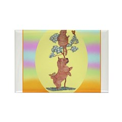 Norwich Terrier & Cat Rectangle Magnet (100 pack)