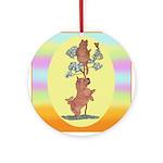 Norwich Terrier & Cat Ornament (Round)