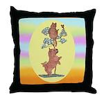Norwich Terrier & Cat Throw Pillow