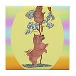 Norwich Terrier & Cat Tile Coaster