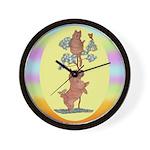 Norwich Terrier & Cat Wall Clock
