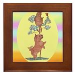 Norwich Terrier & Cat Framed Tile