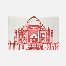 Taj Mahal Red Rectangle Magnet