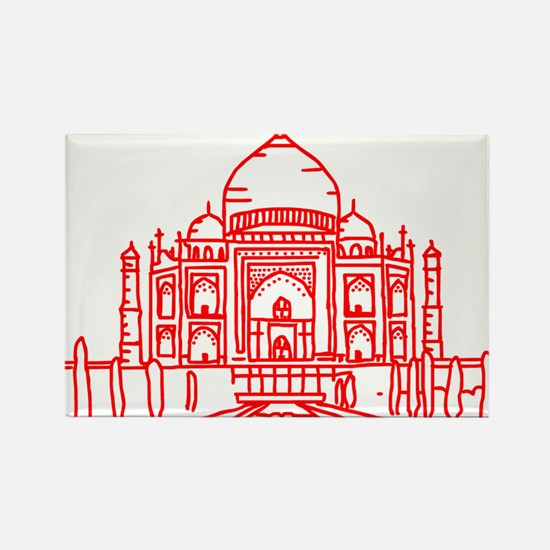Taj Mahal Red Rectangle Magnet