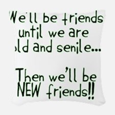 Well be friends png Woven Throw Pillow