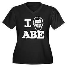I-love-ABE-W Women's Plus Size Dark V-Neck T-Shirt