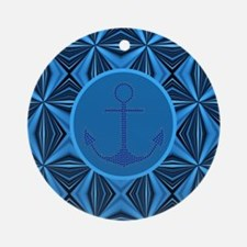 modern anchor abstract blue waves p Round Ornament