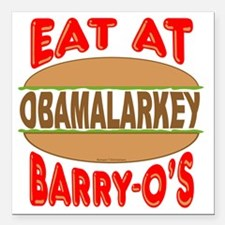"""Eat at Barry Os 12 Square Car Magnet 3"""" x 3"""""""