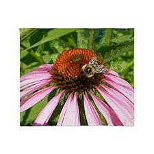 Echinacea Bee Throw Blanket