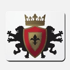 Medieval Lion Heraldry (Red + Gold) Mousepad
