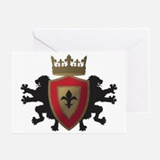 Medieval Lion Heraldry (Red + Gold) Greeting Card