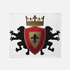 Medieval Lion Heraldry (Red + Gold) Throw Blanket