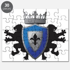 Medieval Lion Heraldry (Blue + Silver) Puzzle