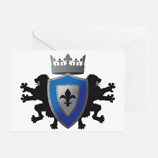 Medieval Lion Heraldry (Blue + Silve Greeting Card