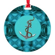 modern anchor abstract teal waves p Round Ornament