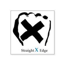 """Straight Edge Closed Fist Square Sticker 3"""" x 3"""""""