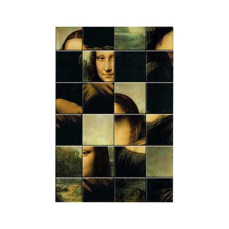 Mona Lisa Puzzle Rectangle Magnet