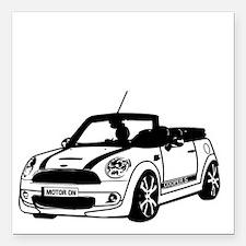"R52 Mini Convertible Out Square Car Magnet 3"" x 3"""