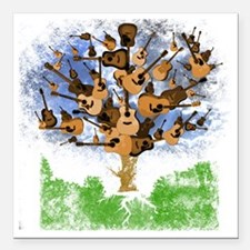 "guitar tree color Square Car Magnet 3"" x 3"""