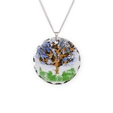 guitar tree color Necklace Circle Charm