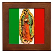 Virgen de Guadalupe - Mexican Flag Framed Tile