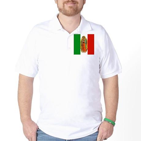 Virgen de Guadalupe - Mexican Flag Golf Shirt