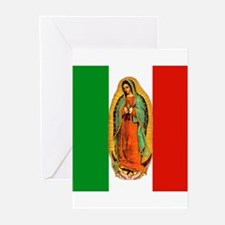 Virgen de Guadalupe - Mexican Flag Greeting Cards