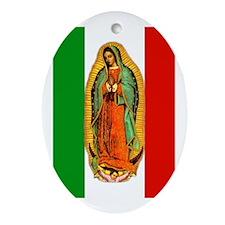 Virgen de Guadalupe - Mexican Flag Oval Ornament