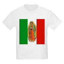 Virgen de Guadalupe - Mexican Flag Kids T-Shirt