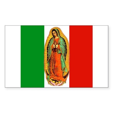 Virgen de Guadalupe - Mexican Flag Sticker (Rectan