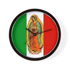 Virgen de Guadalupe - Mexican Flag Wall Clock