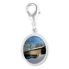 Covered Bridge Silver Oval Charm