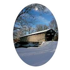 Covered Bridge Oval Ornament