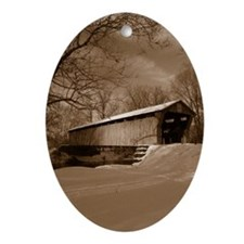 Covered Bridge Oval Ornament