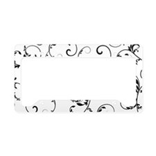 white black floral vintage License Plate Holder