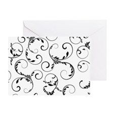 white black floral vintage Greeting Card