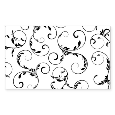white black floral vintage Sticker (Rectangle)